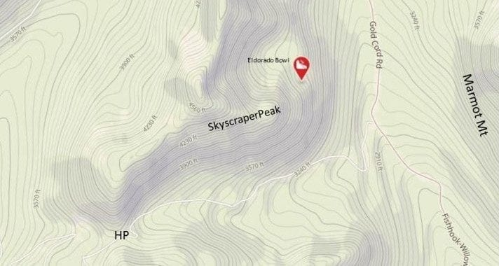 Approximate location of missing skier Liam Walsh