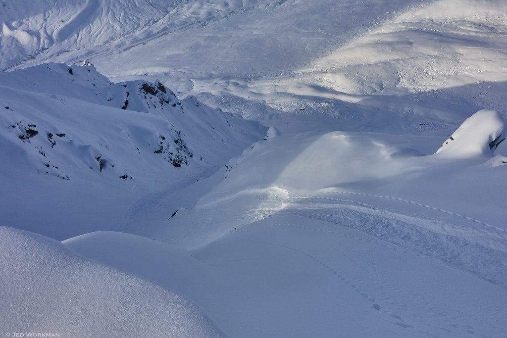 Jan 17, 2017 – Recent small, dry loose snow avalanche sympathetically triggering 4″ soft slab on 40 degree slope angle. This type of problem will be present today.
