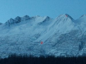 Windslab release off ridge above airport